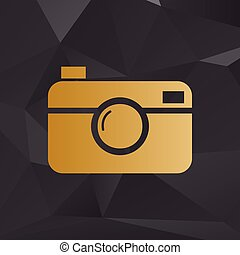 Digital photo camera sign. Golden style on background with...