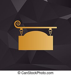 Wrought iron sign for old-fashioned design. Golden style on background with polygons.