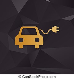 Eco electric car sign. Golden style on background with...
