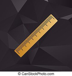 Centimeter ruler sign. Golden style on background with polygons.