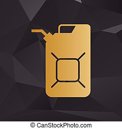 Jerrycan oil sign. Jerry can oil sign. Golden style on...