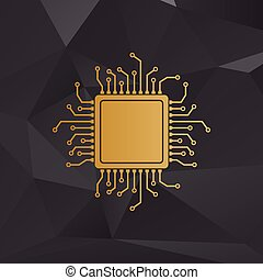 CPU Microprocessor illustration. Golden style on background...