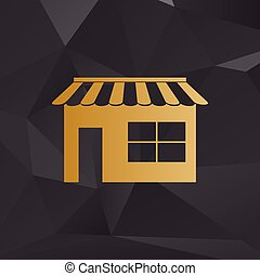 Store sign illustration. Golden style on background with polygons.
