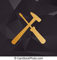 Tools sign illustration. Golden style on background with...