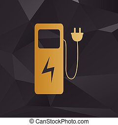 Electric car charging station sign. Golden style on background with polygons.
