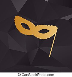 Traditional Venetian Carnival Decorative mask sign. Golden style on background with polygons.