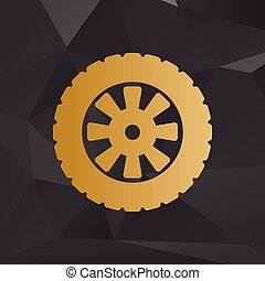 Road tire sign. Golden style on background with polygons.