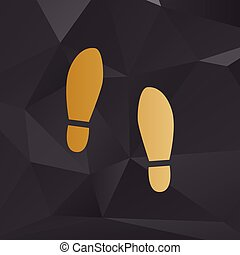 Imprint soles shoes sign. Golden style on background with...