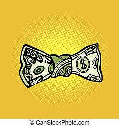 bowtie dollar money, pop art retro vector illustration....