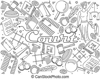 Set law and justice vector coloring book