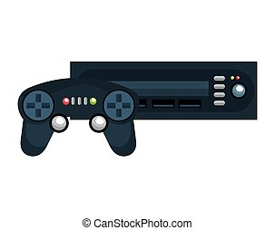 video game console and control with buttons. vector...