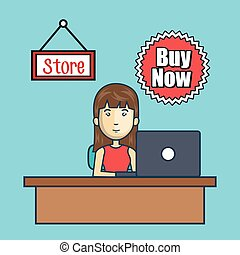 avatar woman and store commerce design - avatar woman...