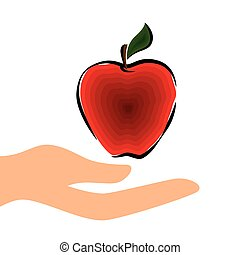 red apple fruit - human hand holding a red apple fruit ....