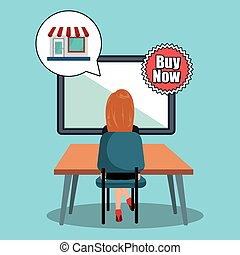 avatar woman and shopping icon - avatar woman working on...