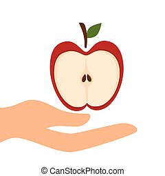 red apple fruit - human hand holding a slice red apple fruit...