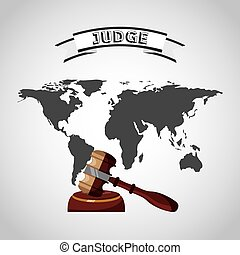 world planet with gavel judge vector illustration design