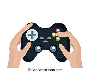 hands with video game control - human hands with video game...