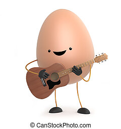 3d Cute egg man wants to be a folk singer with his guitar -...
