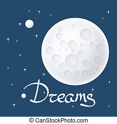 Moon with Stars and Text - Planet in Space and Text , Moon...