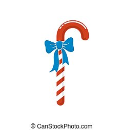Christmas Candy with Bow Isolated on White - Christmas Red...