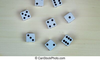 white gambling dices with black dots. turntable - white...