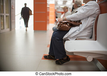 close up on Chairs for patient and visitor in hospital,...