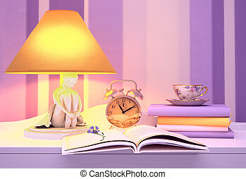 Lamp, books, hours, cup of tea.