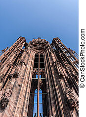Single tower of the Cathedral Notre-Dame in Strasbourg -...