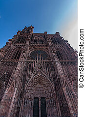 Notre Dame of Strasbourg - View of the front of the Notre...