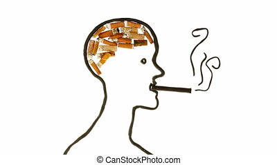smoking animation effects - smoking man brain, clay and...