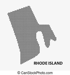 Dotted map of the State Rhode Island. Vector illustration. -...