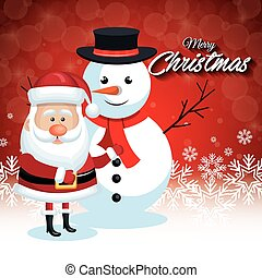 santa claus and snowman christmas card snowflake red background