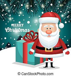 merry christmas santa claus and gift blue. snowfall landscape night design