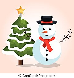 snowman with christmas tree star graphic