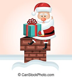 santa claus sit on chimney with gift snow isolated vector...