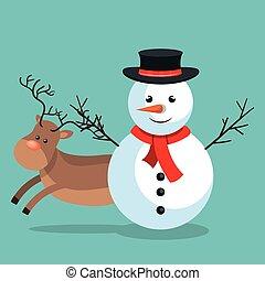 xmas snowman reindeer with blue sky bakcground