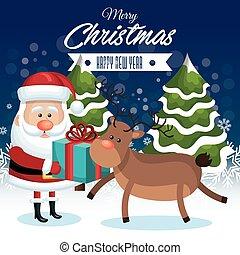 Vrolijk, cadeau, boompje, jaar, Sneeuwval, rendier, kerstman, nieuw, Kerstmis, vrolijke