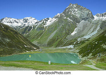 Austria, Tyrol - Austria, Tirol, Rifflsee - lake and snow...