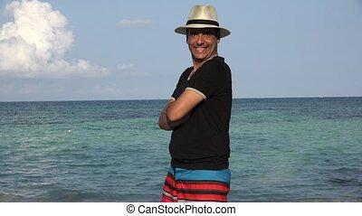 Funny Goofy Man On Summer Vacation At Ocean