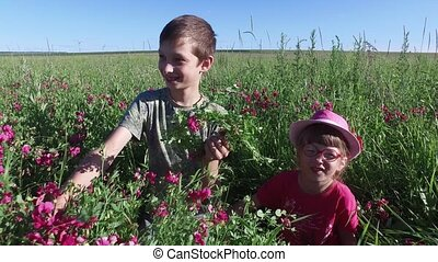 Teenager boy and girl child playing in a meadow. Brother and...