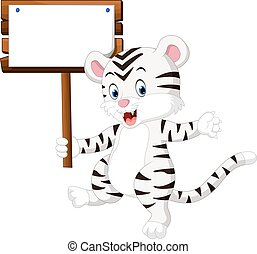 Cute white tiger cartoonhanging wooden signboard