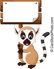 Cute lemur cartoon hanging wooden signboard
