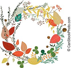 Round frame of leaves in vector. Autumn. EPS10