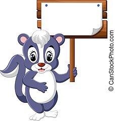 skunk cartoon - Cute skunk cartoon hanging wooden signboard