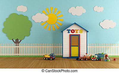 Colorful Playroom with wooden house - Playroom with small...