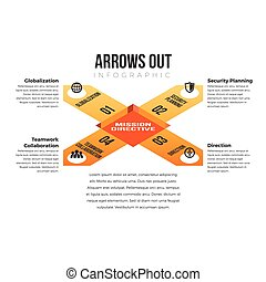 Arrows Out Infographic - Vector illustration of arrows out...