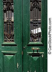 Vintage Door and Envelope - Green vintage door of the house...