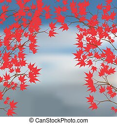 Greeting card of the autumn landscape. Red maple leaves on...