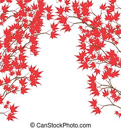 Greeting card. Red maple leaves on the branches on either...