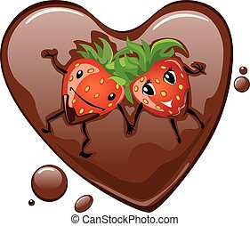 Strawberry in chocolate heart
